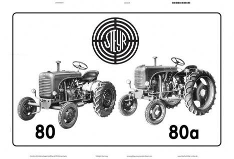 Steyr 80 & 80a schwarz weiß traktor Trekker Schlepper blechschild