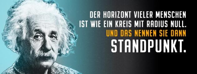 Blechschild Einstein: Der Horizont vieler Menschen Metallschild Wanddeko 27x10 cm tin sign