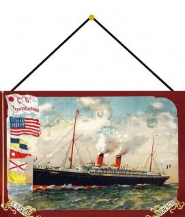 Blechschild Nostalgie Dampfschiff Le Havre NY Metallschild 20x30 mit Kordel