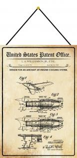 Blechschild Patent Entwurf Flugzeug Motorkühlsystem Deko 20 x 30 mit Kordel