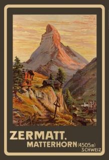 Nostalgie: Schweiz Matterhorn Zermatt Blechschild 2x30 cm