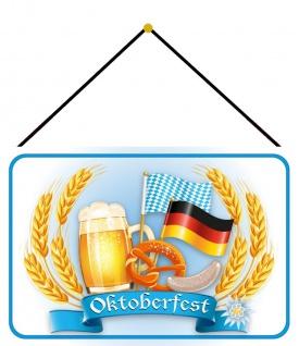 Blechschild Bier Bayern Oktoberfest Deutsch Metallschild Deko 20x30 mit Kordel