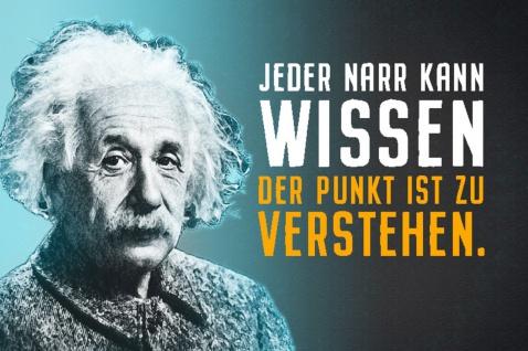 Blechschild Spruch Einstein Jeder Narr kann wissen Metallschild Wanddeko 20x30 cm tin sign
