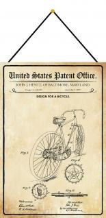 Blechschild Patent Entwurf Fahrrad Metallschild Deko 20 x 30 m.Kordel