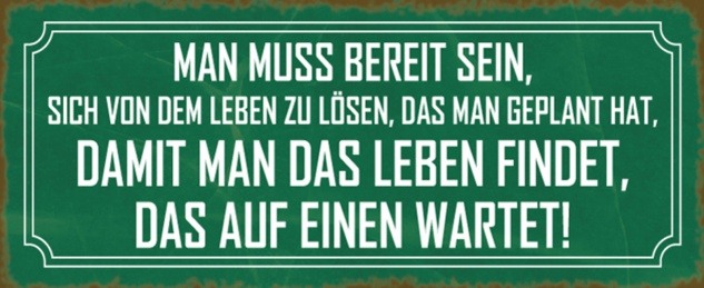 Blechschild Spruch Leben auf einen wartet Metallschild 27x10 cm Wanddeko tin sign