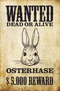 Blechschild Wanted dead or Alive Osterhase Metallschild Wanddeko 20x30 cm tin sign
