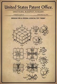 """US Patent Office - Design for Spatial logical Toy """" Rubik"""" - Entwurf für räumliches logisches Spielzeug """" Rubik""""- Rubik, Hungary 1983 - Design No 4.378.116 - Blechschild"""