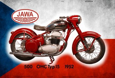 Jawa 500 OHC 15 1952 Tchechien motorrad blechschild