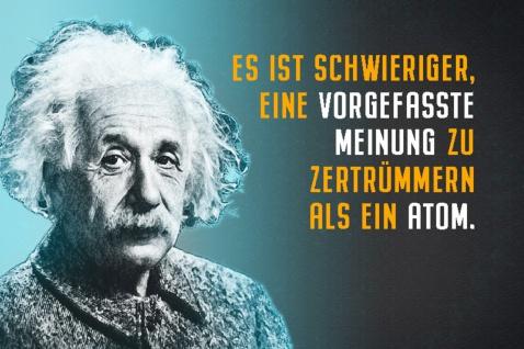 Blechschild Spruch Einstein Es ist schwieriger Meinung Metallschild Wanddeko 20x30 cm tin sign