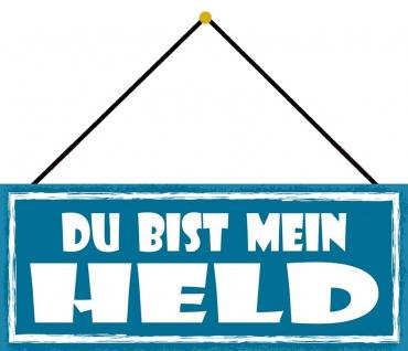 Schatzmix Blechschild Du bist mein Held Metallschild Wanddeko 27x10 cm mit Kordel