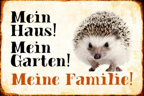 Blechschild Igel Mein Haus! Mein Garten! Metallschild Wanddeko 20x30 cm tin sign