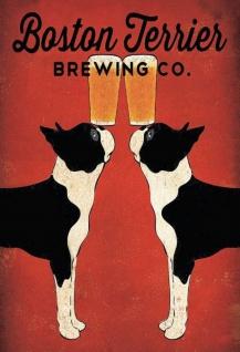 Blechschild Boston Terrier Brewing Co. Alkohl Bier Hunde Metallschild Wanddeko 20x30 cm tin sign