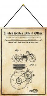 Blechschild Patent Entwurf Wellenantrieb für Motorräder Deko 20 x 30 m.Kordel