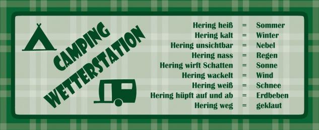 Blechschild Spruch Camping Wetterstation Metallschild Wanddeko 27x10 cm tin sign
