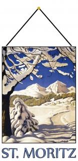 Blechschild Urlaub St Moritz Schnee Ski Metallschild Wanddeko 20x30 mit Kordel