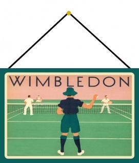 Blechschild Retro Wimbledon Tennis Sport Metallschild 20x30 Wanddeko mit Kordel