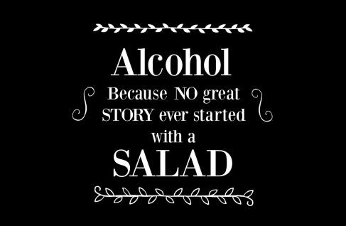 Blechschild Spruch Alkohol vs Salad schwarzes Metallschild 20x30 cm Wanddeko tin sign
