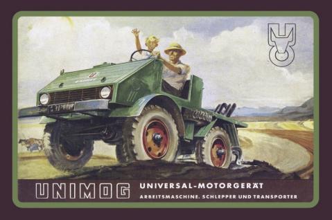 Unimog reklame universal motorgerät blechschild