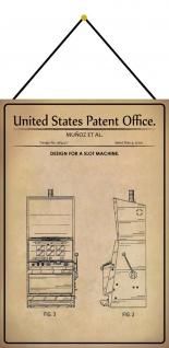 Blechschild Patent Entwurf für einarmiger Bandit Metallschild 20 x 30 m.Kordel