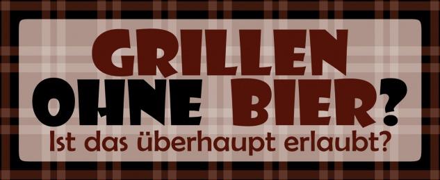 Blechschild Spruch Grillen ohne Bier? Metallschild Wanddeko 27x10 cm tin sign
