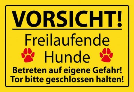 Warnschild: Vorsicht! Freilaufende Hunde - Betreten auf eigene Gefahr!... Metallschild Wanddeko 20x30 cm tin sign