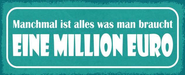 Blechschild Spruch Manchmal ist alles was man braucht eine Million Euro Metallschild 27x10 Deko tin sign
