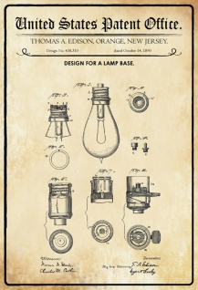 US Patent Office - Design for A Lamp Base - Entwurf für eine Lampensockel- Edison, New Jersey, 1890 - Design No 438.310 - Blechschild