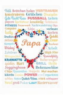 Blechschild Spruch Papa Herz weißes Metallschild 20x30cm Wanddeko tin sign