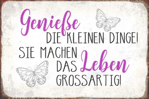 Blechschild Spruch Genieße Dinge Leben Metallschild Wanddeko 20x30 cm tin sign