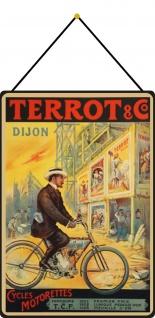 Blechschild Nostalgie Terrot & Co Dijon Cycles Motorettes Deko 20x30 mit Kordel