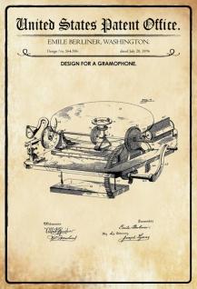 Blechschild Patent Entwurf für Schallplatten-Berliner Metallschild Wanddeko 20x30 cm tin sign
