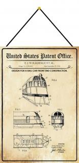 Blechschild Patent Entwurf für ein Eisenbahnfrontende Deko 20 x 30 m.Kordel