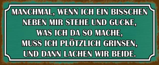 Blechschild Spruch Lachen beide neben mir Metallschild 27x10 cm Wanddeko tin sign