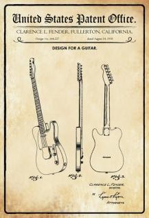 Blechschild Patent Entwurf für eine Gitarre Fender Metallschild Wanddeko 20x30 cm tin sign