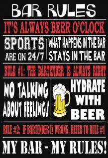 Bar Rules - it's always beer o'clock Spruchschild Blechschild 20x30 cm