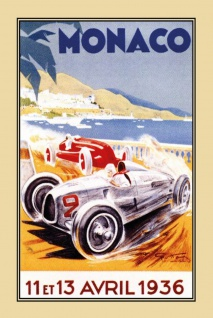 Blechschild Auto Monaco Grand Prix 1936 Metallschild Wanddeko 20x30 cm tin sign