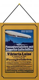 Blechschild Nostalgie Zeppelin Passagierfahrten Metallschild 20x30 cm mit Kordel