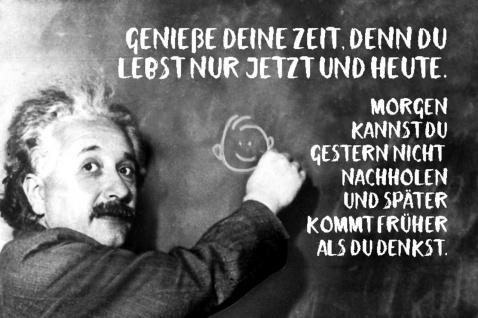 Blechschild Spruch Genieß deine Zeit du Einstein Metallschild Wanddeko 20x30 cm tin sign