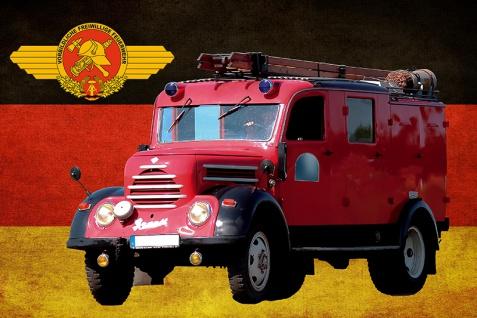 Blechschild Freiwilliges Feuerwehr Wagen DDR Metallschild Wanddeko 20x30 cm tin sign