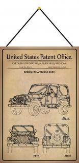 Blechschild Patent Entwurf Auto Geländewagen Metallschild 20 x 30 Kordel