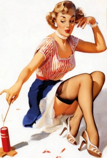 Nostalgie Pin up sexy Frau mit Kerze Blechschild 20x30cm