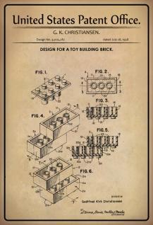 US Patent Office - Design for A Toy Building Brick- Entwurf für einen Spielzeug-Ziegelstein - Christiansen, 1958 - Design No 3.005.282 - Blechschild