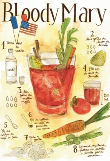 Cocktail Rezept recipe Bloody Mary vodka tomaten USA helle hintergrund blechschild