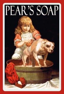 Nostalgie: Pears Soap (Mädchen mit Hund in Wanne) Blechschild 20x30 cm