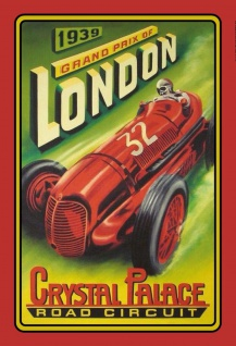 Blechschild Auto Grand Prix of London 1939 Metallschild Wanddeko 20x30 cm tin sign