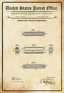 US Patent Office - Design for a Mouth Harmonica - Entwurf für einen mundharmonika - Hohner - 1897 - Design No 588920 - Blechschild