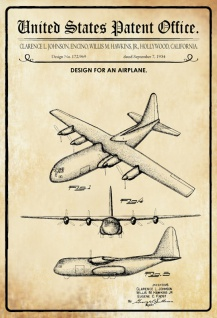 US Patent Office - Design for an Aeroplane - Entwurf für ein Flugzeug - Johnson/Hawkins California 1954 - Design No 172.969 - Blechschild