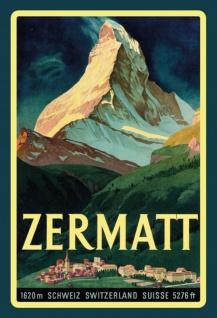 Zermatt Schweiz Switzerland 1620m Blechschild 20x30 cm