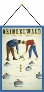 Blechschild Grindelwald Curling Schweiz Ski Metallschild Deko 20x30 mit Kordel