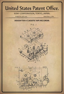 US Patent Office - Design for a Cassette Tape Recorder - Entwurf für einen Kassettenrekorder - Sony 1989 - Design No 4.827363 - Blechschild